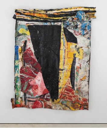 """Angel Otero, September Elegy, 2017. Oil skins on fabric. 103"""" x 85"""" x 5"""" inches. Courtesy of the artist and Lehmann Maupin, New York, Hong Kong, Seoul, and London"""