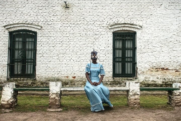 Adama Delphine Fawundu (born 1971, Brooklyn, NY; active New York), Black Like Blue in Argentina, 2018. Inkjet print on canvas knotted with hair; 72.4 × 110 cm. Courtesy of the artist and Hesse Flatow (AB-2021-2)