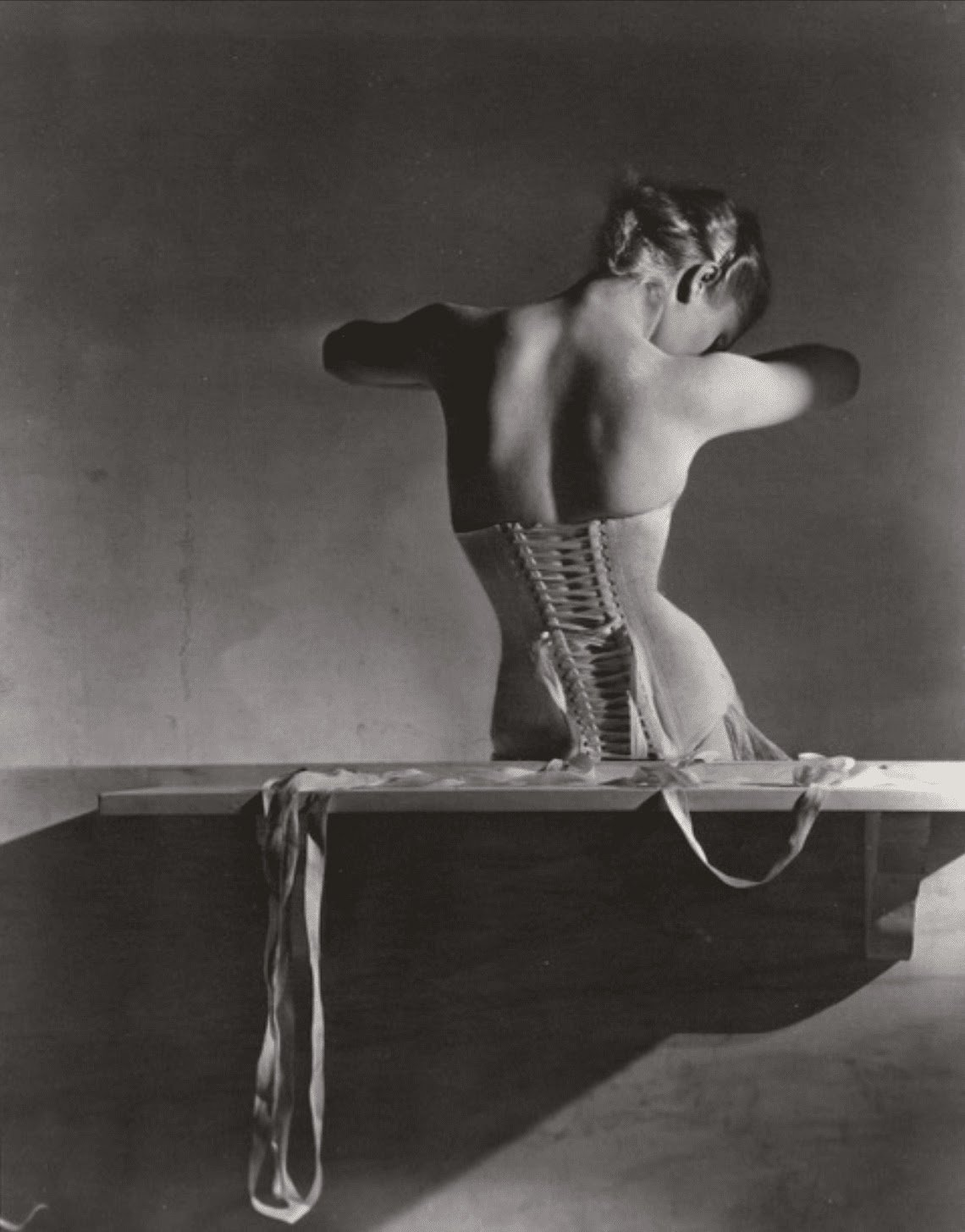 Horst P. Horst Mainbocher Corset—Variant (tight) 1939 (printed 1985‒1995) Platinum-palladium print Promised Gift of Sally Ross Soter Image courtesy of Holden Luntz Gallery
