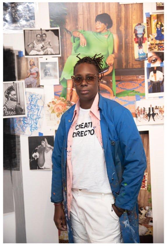 Mickalene Thomas in the studio, New York 2021. Portrait by Tatijana Shoan © Mickalene Thomas / Artists Rights Society (ARS), New York
