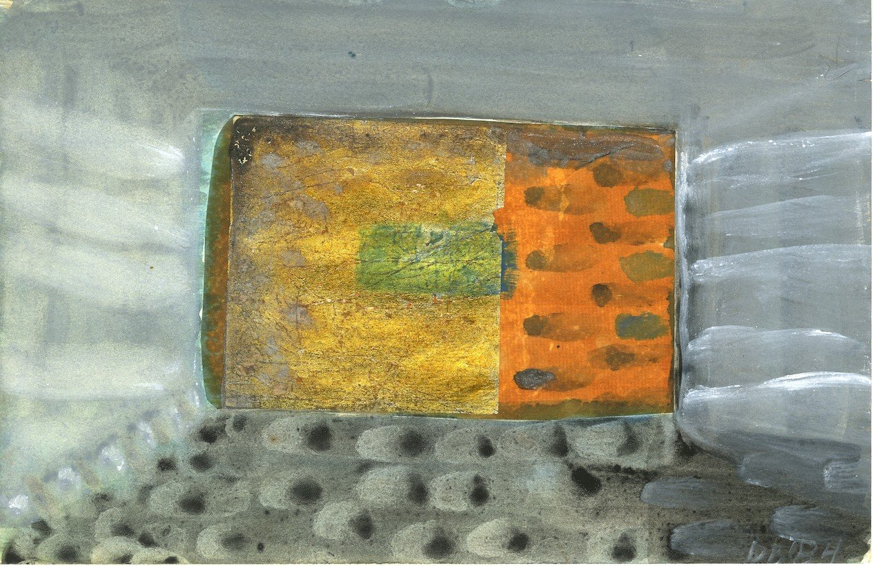 """Dusti Bongé Untitled(Orange and Gray Abstract),1984, watercolor on joss paper,5 1/2"""" x 8 1/2""""."""