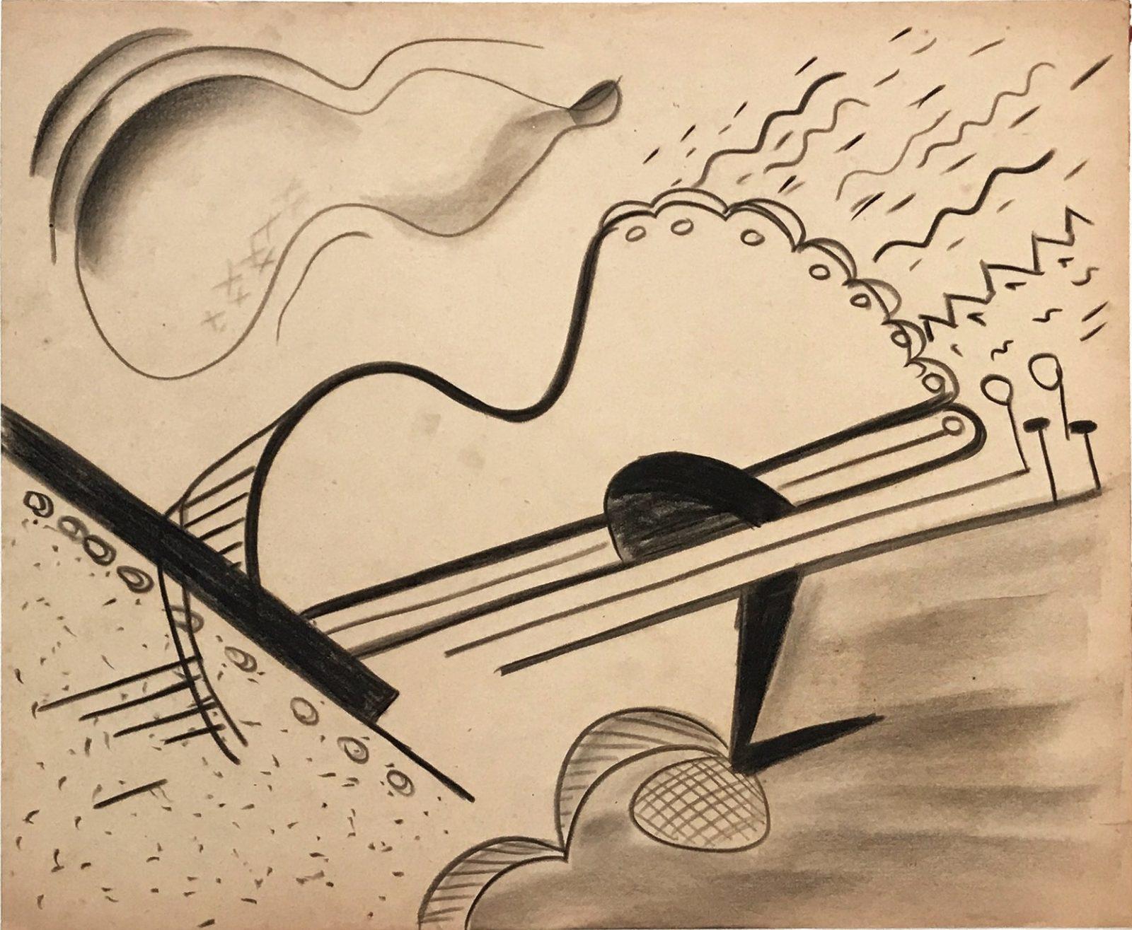 "Dusti Bongé, Untitled (SurrealistComposition with Cello),1945, charcoal onpaper, 14 "" x 16 3/4""."
