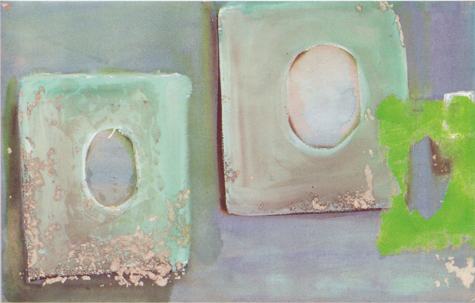 "Dusti Bongé, Green Paper Holes, 1978, mixed media collage, 13"" x 20"". Paul Bongé Collection"