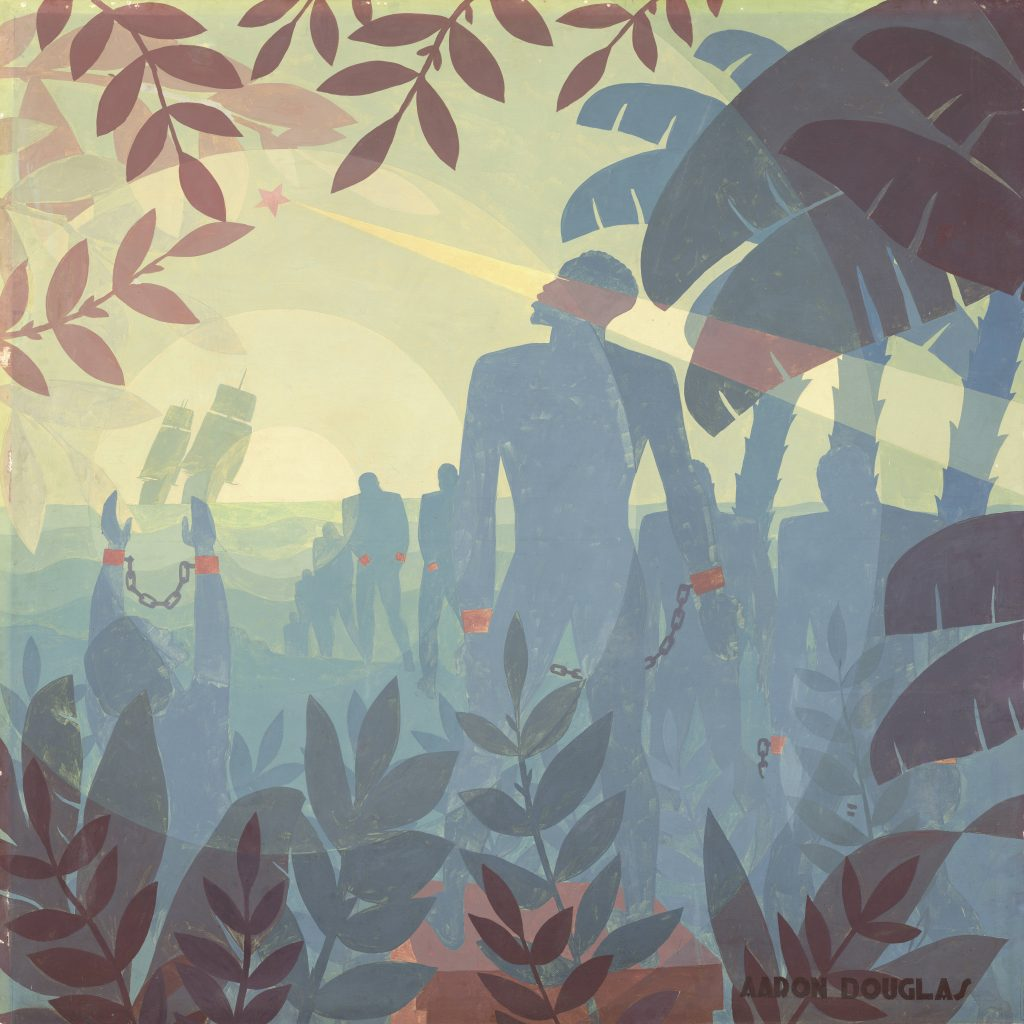 Aaron Douglas, Into Bondage, 1936, oil on canvas, National Gallery of Art, Washington, D.C., Corcoran Collection (museum purchase and partial gift from Thurlow Evans Tibbs, Jr., the Evans‐Tibbs Collection). © 2021 Heirs of Aaron Douglas / Licensed by VAGA at Artists Rights Society (ARS), NY