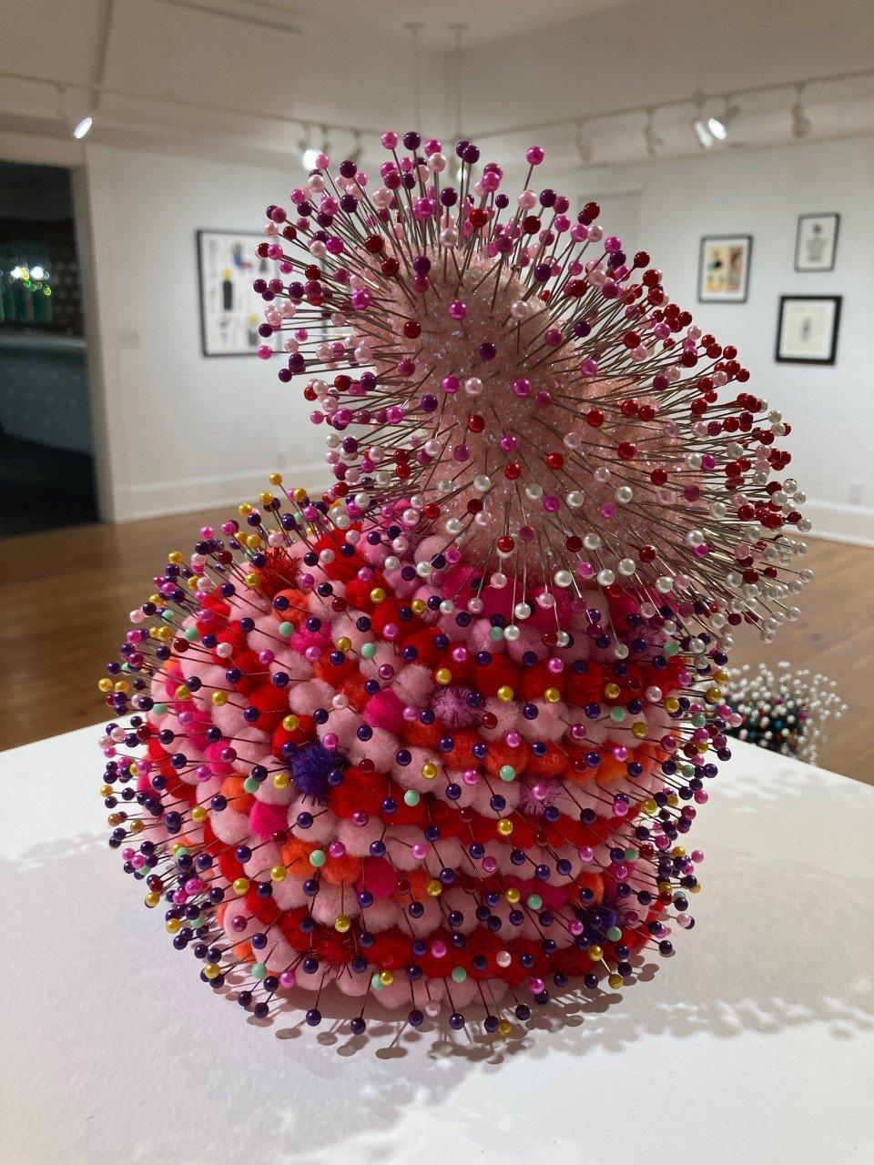 Benjamin Jones, Pink Rabbit, 2021. Styrofoam, glitter coat, pompoms, pins. 9 x 5 x 9
