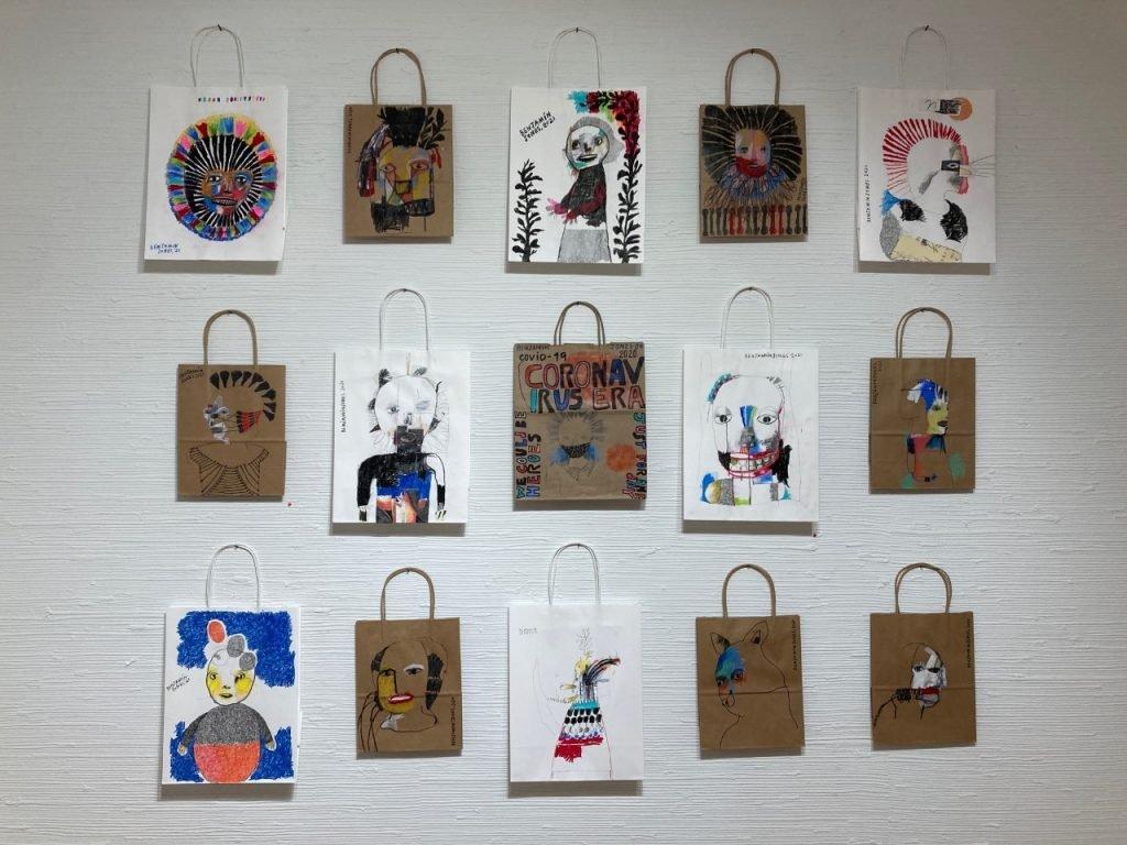 Benjamin Jones drawings on paper bags at Laney Contemporary, Savannah, GA