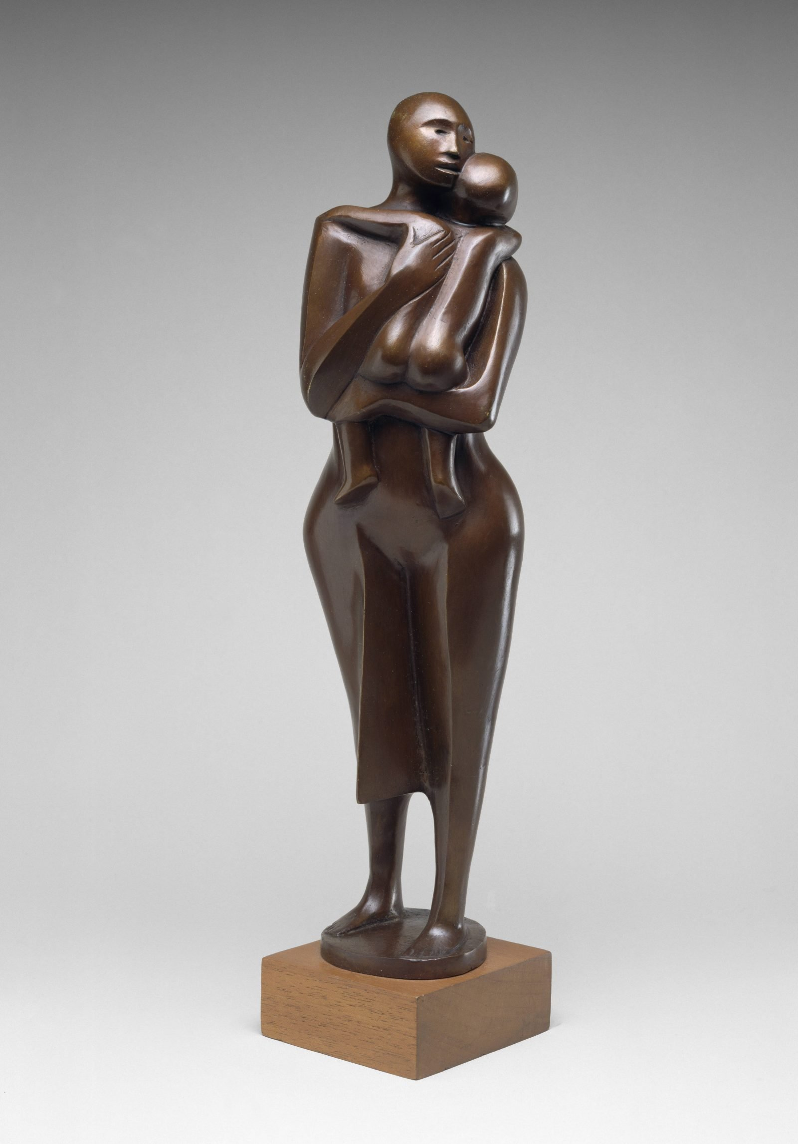 Elizabeth Catlett, Standing Mother and Child, 1978, bronze with copper alloy on wood base, the Museum of Fine Arts, Houston, Museum purchase funded by the African American Art Advisory Association. © 2021 Catlett Mora Family Trust / Licensed by VAGA at Artists Rights Society (ARS), New York