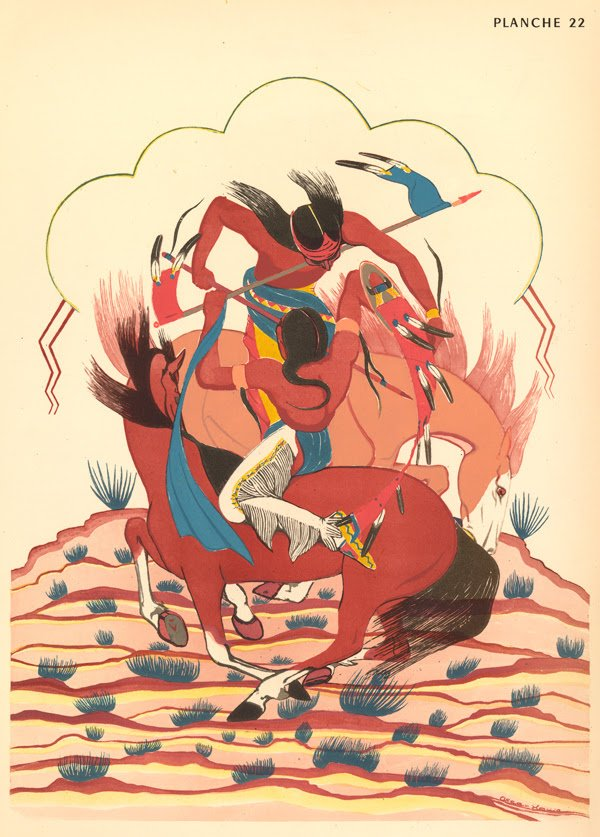 """Oscar Howe (Yanktonai Dakota, 1915 – 1983), """"Sioux Battle,"""" ca. 1948. Lithograph, 17 3/4 × 12 1/2 inches. Fred Jones Jr. Museum of Art, The University of Oklahoma Norman; Gift of The Charles H. and Miriam S. Hogan Collection, 2004, 2004.018.044.022."""