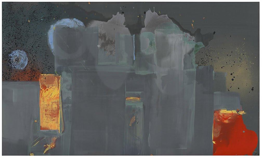Helen Frankenthaler, Janus, 1990. Acrylic on canvas, 57 x 94 3/4 in. (144.8 x 240.7 cm). Helen Frankenthaler Foundation, New York © 2021 Helen Frankenthaler Foundation, Inc. / Artists Rights Society (ARS), New York