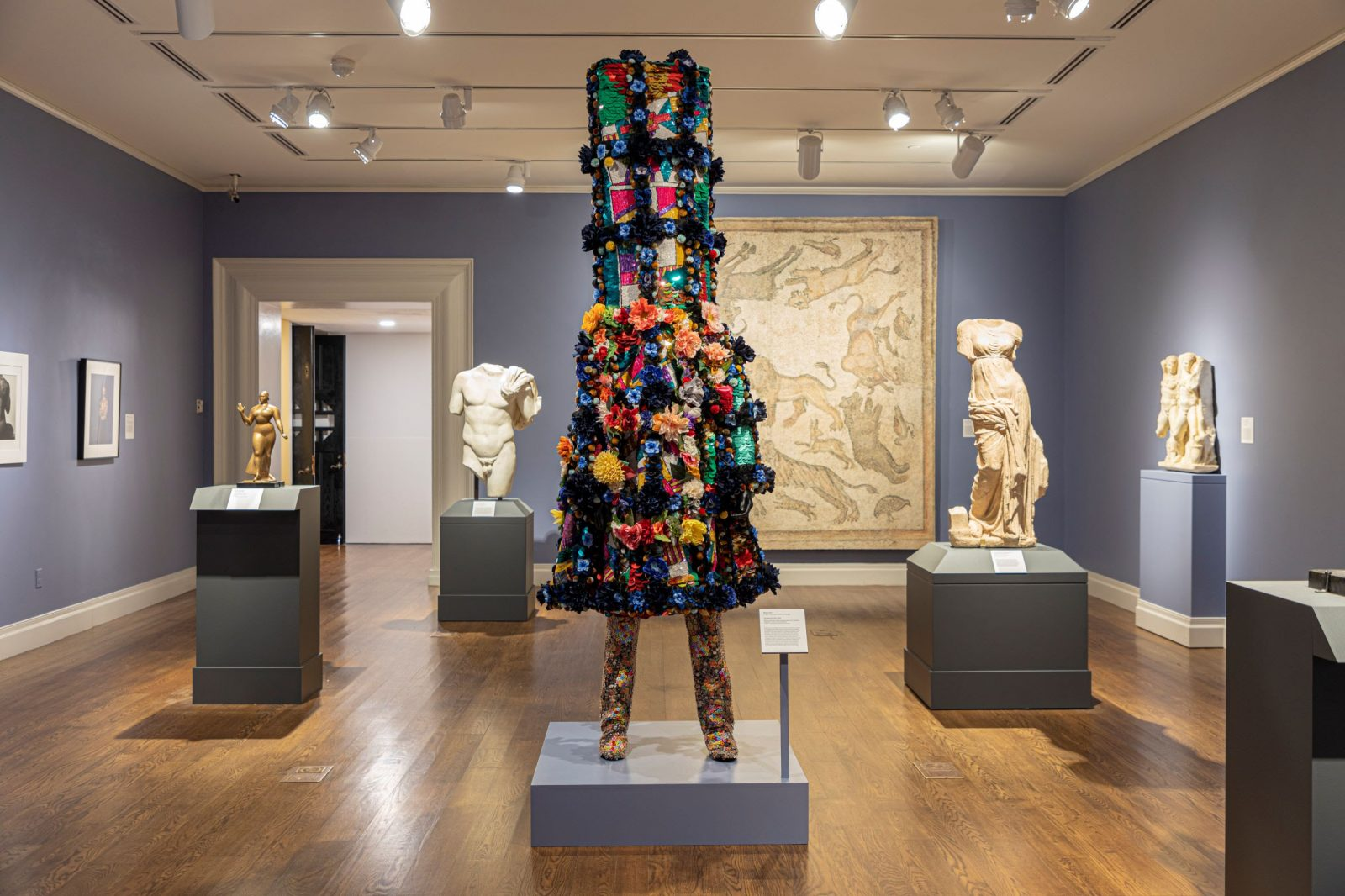 """Nick Cave (b. 1959. Lives and works in Chicago)  """"Soundsuit 8:46"""" (2021)  Mixed media including vintage textile and sequined appliqués, metal, and mannequin Photo courtesy Honolulu Museum of Art"""